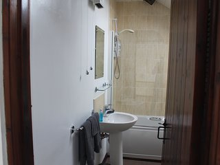 The bathroom with bath, shower, toilet and wash basin.
