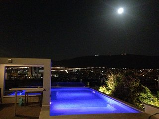Panoramic view, private roof garden swimming pool