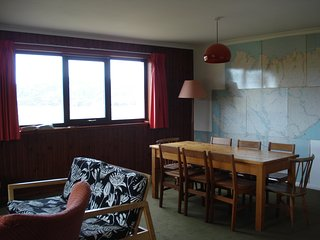 Dining area with OS wall map of North Scotland