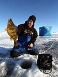 Ice fishing. Cisco Chain of Lakes, Lake Gogebic, Ottawa National Forest Lakes. Mapbooks in cabin
