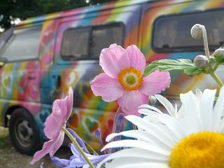 Bertha. Our colourful campervan in the countryside, St. Ives
