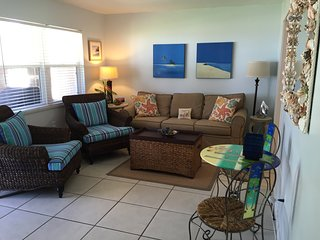 Living room with beachy colors