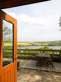Garden overlooks fields and the Teifi Estuary