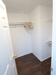 Large walk-in master suite closet with full-length mirror so you look your best.