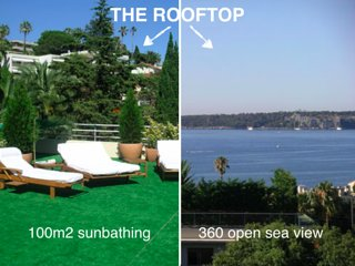 Sea view penthouse in Cannes with private rooftop garden, sleeps 6
