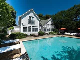 YASED - STUNNING EDGARTOWN VILLAGE LUXURY COMPOUND, HEATED POOL BORDERED BY LARGE BLUESTONE PATIO,  COASTAL CONTEMPORARY DECOR, Edgartown
