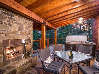 Covered Porch with Hot Tub and Fireplace