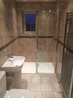 Upstairs Shower Room - Power Shower and window overlooking conservatory