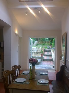 Dining area, french doors opening out to garden