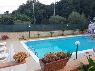 Villa with pool, garden, views Etna and Ionian Sea, Acireale