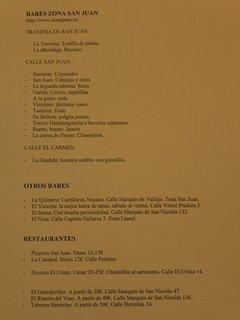 recomendación personal de bares en el entorno de la calle San Juan y restaurantes