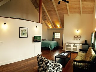 Beautiful studio with bamboo floor, vaulted ceilings & ocean view.  PERMITTED