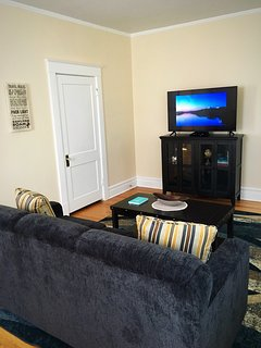 Relax and chat or watch television in the family room.