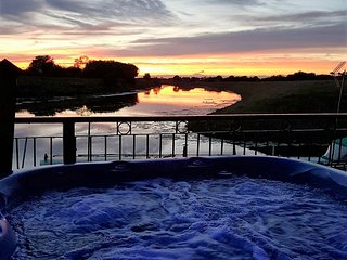 View from the hot tub at sunset