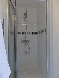 Generous shower cubicle with modern Grohe high pressure mixer.