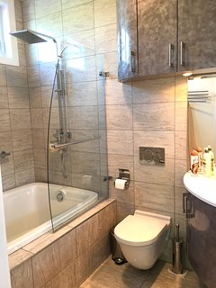 Master bathroom has bathtub for 2; rain shower, heated floor