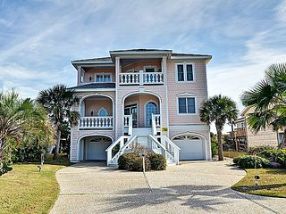 Footprints - SAVE $200 in June!  Gorgeous Oceanfront View home w/Elevator,, Topsail Beach