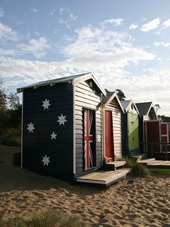 Beach Boxes on the beach opposite