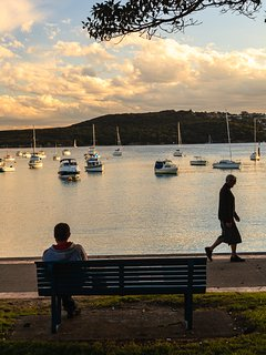 Sunset over Manly ferry wharf, only a block away