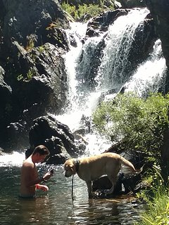 Praying with the dog at Gray Eagle Lodge Falls August 2016