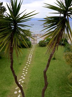 garden and sea view from the bedroom
