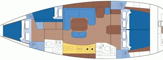 The layout of the yacht