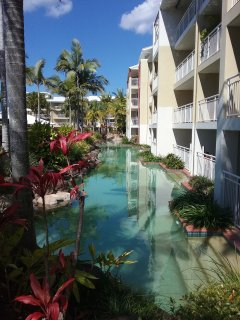 Unit has pool directly in front. Our unit is located second floor, three balconies along.