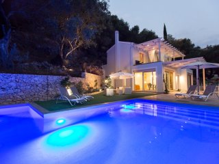 New build Villa Rana is located above Agni Bay.