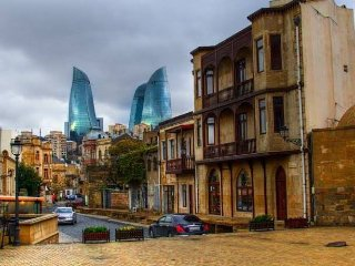 Houses and hotels in the center of Baku OLD CITY..