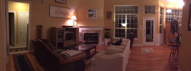 Evening view of Great Room & Surround Sound Entertainment System w/Cable Television.