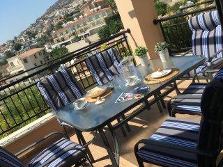 Outdoor dining patio area
