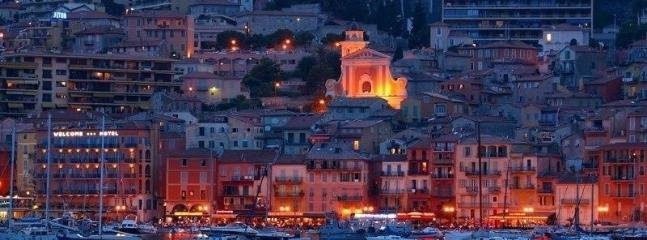 Villefranche-sur-Mer lit up like a magical fairytale at night