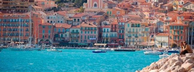 View of the beautiful town of Villefranche from a boat