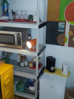 Mini fridge, coffee machine and microwave oven