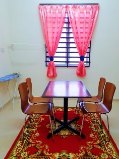 Dining room with laundry iron area