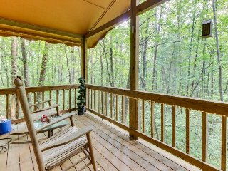 Cozy, dog-friendly cabin w/ heart-shaped Jacuzzi tub, deck, grills, & firepit