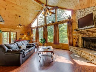Gorgeous dog-friendly cabin w/mountain views, hot tub, sauna, pool table & more!