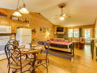 Quaint, dog-friendly cabin w/ screened-in deck, private hot tub, & firepit