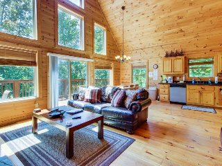 Classic mountain cabin w/ hot tub, an indoor basketball court, & forest views