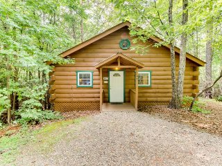 Cozy, dog-friendly cabin w/ hot tub, heart-shaped jetted tub, fireplace, & more