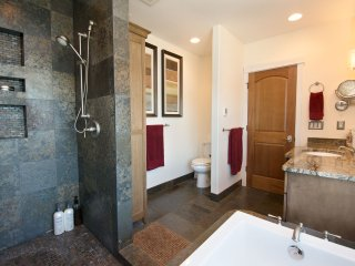 Master bathroom with bath tub