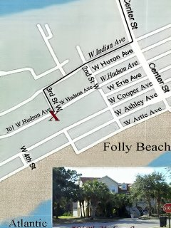 A map illustrating where the house is located in Folly Beach