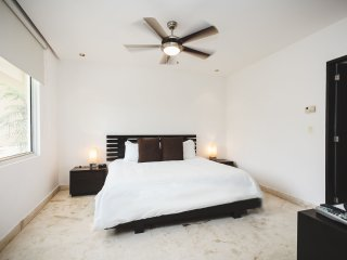 Master suite with king bed, TV an en suite bathoom