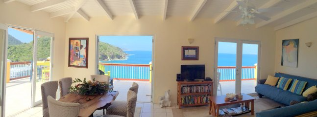 Panoramic ocean view from inside the house