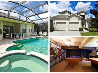 Minutes from WDW / 5 Bedroom / Sleeps 12/ Pool/Spa/ Game RM/ Free WIFI / Grill
