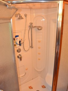 Jacuzzi steam shower to sooth away the ache in your tired muscles--a peace-filled night awaits...