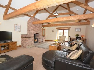 Spacious lounge with woodburner and TV
