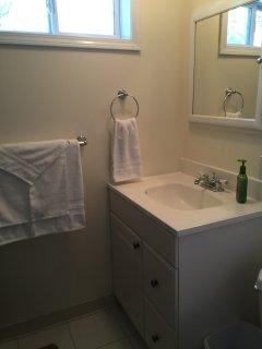 Bathroom with starter toiletries