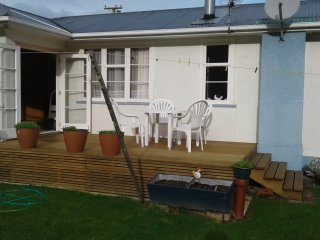 the sun drenched deck.