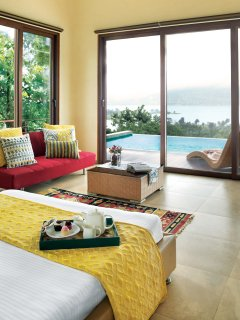 Lower Villa Bedroom With Pool and Lake View